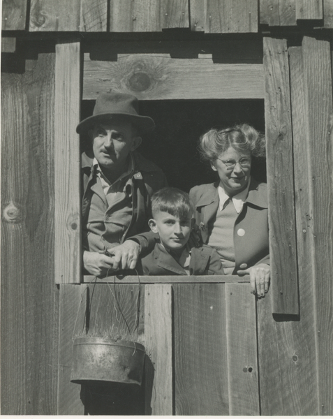 Ansel, son Michael, and Virginia in the old mining town of Bennettville, CA during their camping trip to Bodie. Photo courtesy of the Adams Family memorabilia archives.